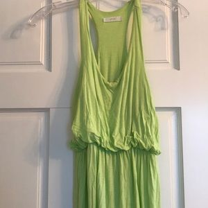 Razor back green maxi dress